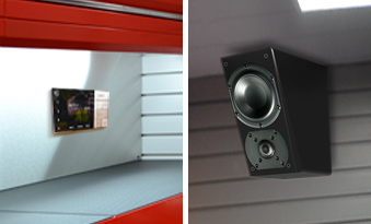 Dura Garages cabinets and back panels with integrated sound system and StorePanel with integrated speaker
